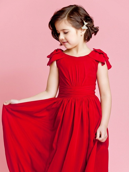 Princess / A-Line Ankle Length Pageant Flower Girl Dresses - Chiffon Sleeveless Jewel Neck With Bow(S) / Buttons / Ruched / Spring / Summer / Fall_5