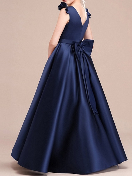 A-Line Floor Length Pageant Flower Girl Dresses - Polyester Cap Sleeve Jewel Neck With Ruching_5