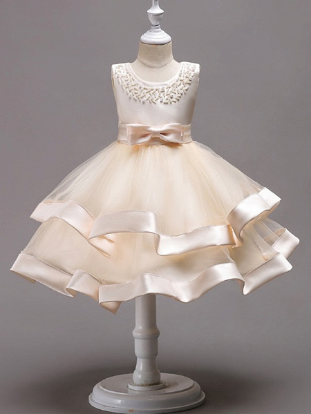 Princess Knee Length Wedding / First Communion / Pageant Flower Girl Dresses - 100% Polyester Sleeveless Jewel Neck With Faux Pearl / Bow(S) / Beading_1