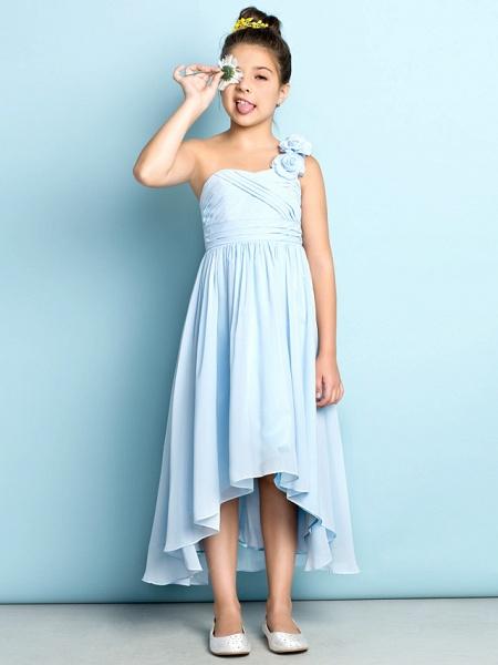 A-Line One Shoulder Asymmetrical Chiffon Junior Bridesmaid Dress With Criss Cross / Flower / Natural / Mini Me_12