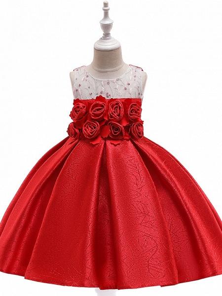 A-Line Knee Length Wedding / Birthday / Pageant Flower Girl Dresses - Cotton Blend Sleeveless Jewel Neck With Petal / Sash / Ribbon / Trim_3