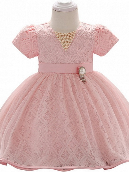 Ball Gown Floor Length Party / Birthday Flower Girl Dresses - Lace / Tulle Short Sleeve Jewel Neck With Belt / Beading_3