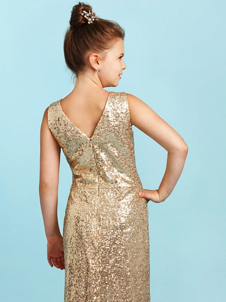 Princess / A-Line V Neck Floor Length Sequined Junior Bridesmaid Dress With Pleats / Sequin_6