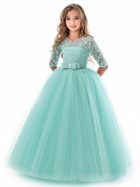 Princess Long Length Wedding / Party / Pageant Flower Girl Dresses - Lace / Tulle Half Sleeve Jewel Neck With Lace / Belt / Bow(S)_3