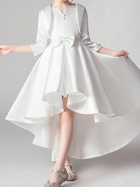 Two Piece Asymmetrical Polyester 3/4 Length Sleeve Jewel Neck With Bow(S) / Pleats_2