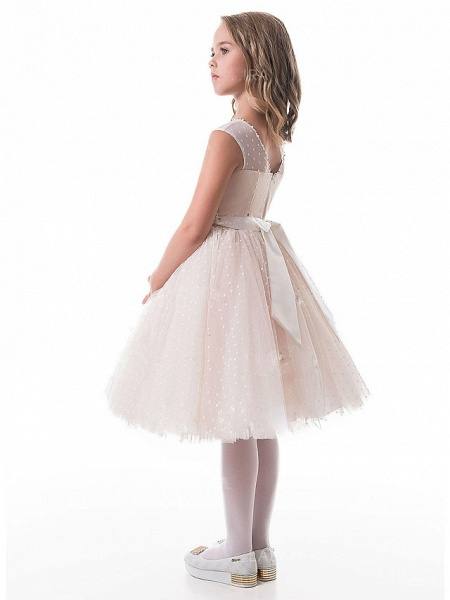 A-Line Knee Length Wedding / Party Flower Girl Dresses - Lace / Tulle Sleeveless V Neck With Appliques_2