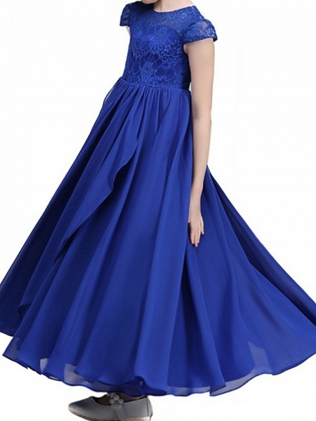 A-Line Ankle Length Pageant Flower Girl Dresses - Polyester Cap Sleeve Jewel Neck With Lace_5