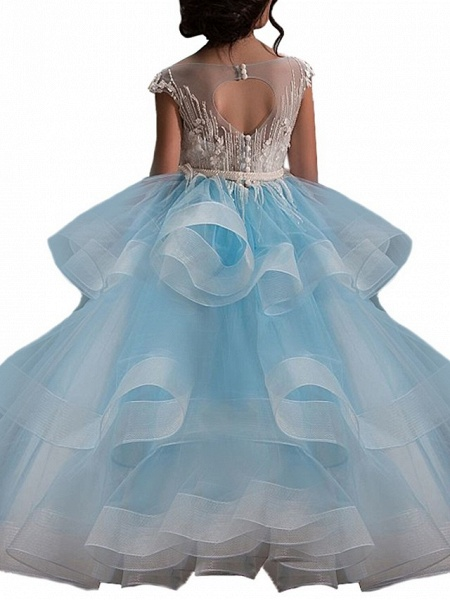 Ball Gown Sweep / Brush Train Birthday / Pageant Flower Girl Dresses - Lace / Organza / Tulle Short Sleeve Boat Neck With Heart / Belt / Beading_4