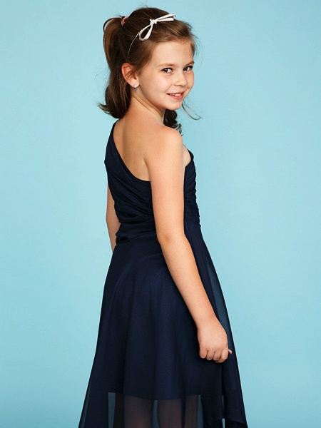 A-Line One Shoulder Asymmetrical Chiffon Junior Bridesmaid Dress With Side Draping / Wedding Party_6