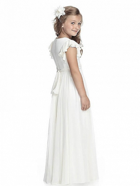 A-Line Round Neck Floor Length Chiffon Junior Bridesmaid Dress With Sash / Ribbon / First Communion_2