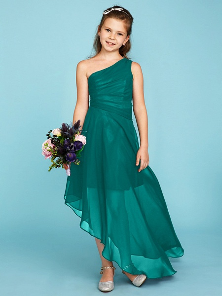 A-Line One Shoulder Asymmetrical Chiffon Junior Bridesmaid Dress With Side Draping / Wedding Party_11