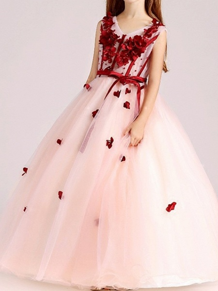 Ball Gown Floor Length Pageant Flower Girl Dresses - Polyester Sleeveless V Neck With Sash / Ribbon / Beading / Appliques_2