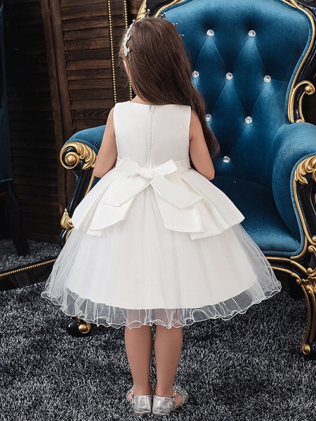 A-Line Knee Length Wedding / Party Communion Dresses - Tulle / Matte Satin / Poly&Cotton Blend Sleeveless Jewel Neck With Lace / Bow(S) / Beading_2