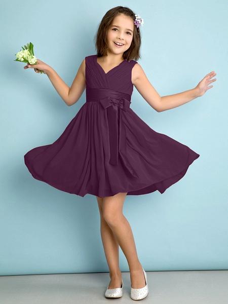 A-Line V Neck Knee Length Chiffon Junior Bridesmaid Dress With Bow(S) / Criss Cross / Natural_16