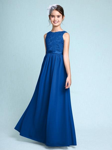 Sheath / Column Bateau Neck Floor Length Chiffon / Lace Junior Bridesmaid Dress With Lace / Natural_34