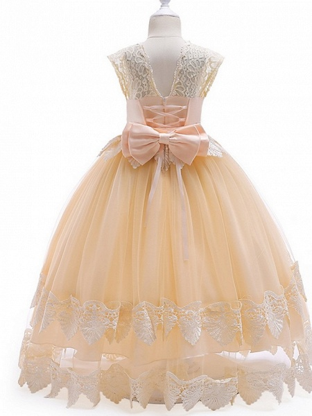 Princess / Ball Gown Ankle Length Wedding / Party Flower Girl Dresses - Tulle Cap Sleeve Jewel Neck With Bow(S) / Tier / Appliques_5
