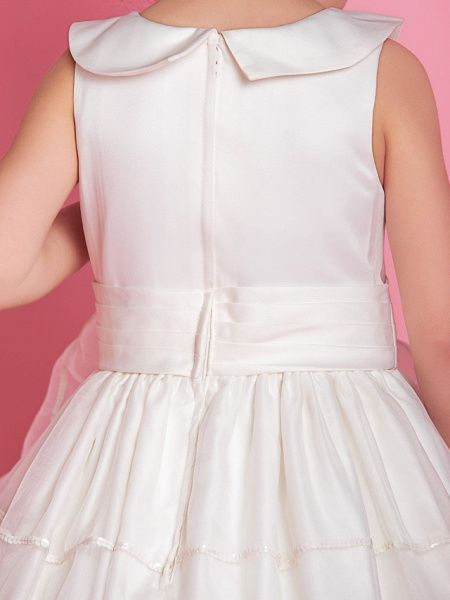 Ball Gown / A-Line Floor Length First Communion / Wedding Party Organza / Satin Sleeveless Jewel Neck With Buttons / Ruched / Ruffles / Spring / Fall / Winter_7
