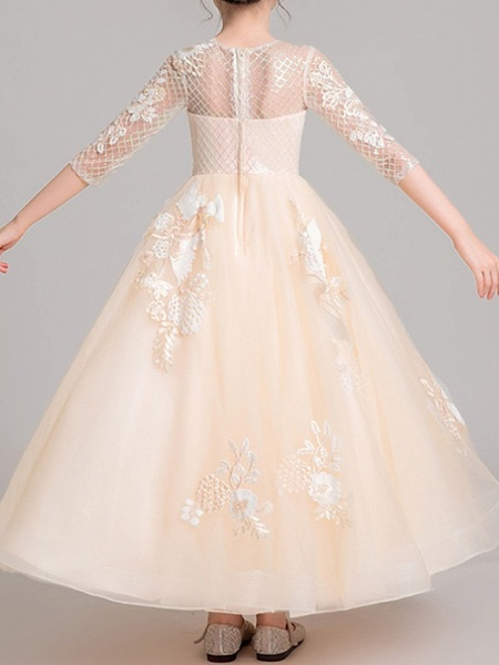Ball Gown Ankle Length Pageant Flower Girl Dresses - Polyester Half Sleeve Jewel Neck With Embroidery / Appliques_4