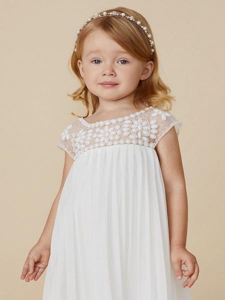 Sheath / Column Knee Length Wedding / First Communion / Holiday Flower Girl Dresses - Chiffon Short Sleeve Jewel Neck With Beading / Draping_6