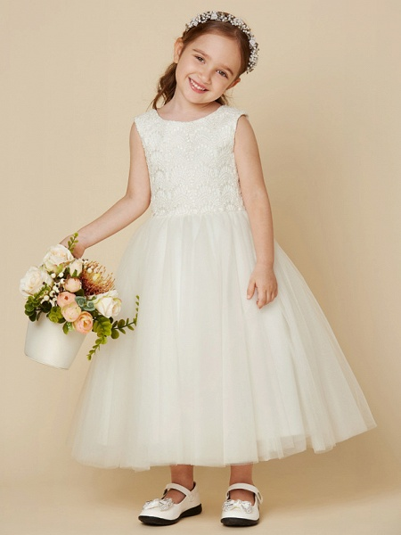 Princess Knee Length Wedding / First Communion Flower Girl Dresses - Lace / Satin / Tulle Sleeveless Jewel Neck With Lace_1