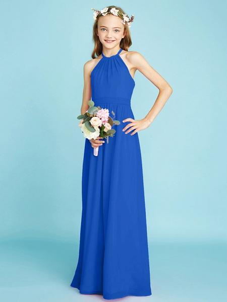A-Line Halter Neck Floor Length Chiffon Junior Bridesmaid Dress With Sash / Ribbon / Natural_34
