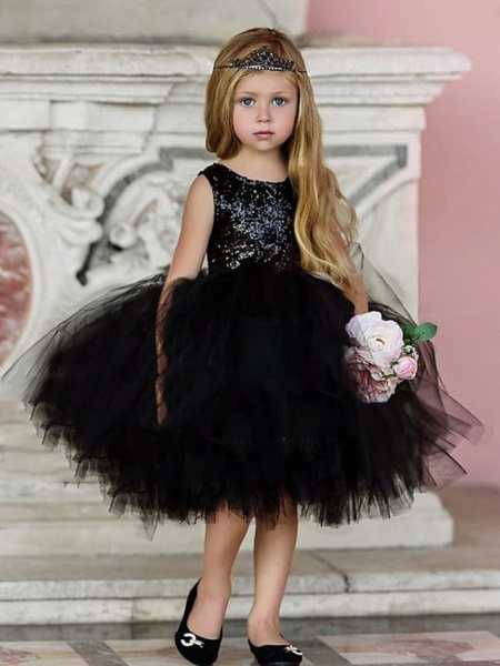 Ball Gown Midi Pageant Flower Girl Dresses - Organza Sleeveless Jewel Neck With Paillette_3