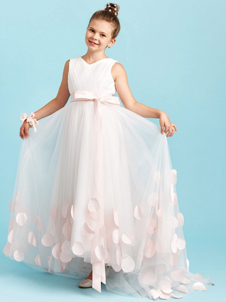 Princess / A-Line V Neck Sweep / Brush Train Satin / Tulle Junior Bridesmaid Dress With Sashes / Ribbons / Bow(S) / Wedding Party_5