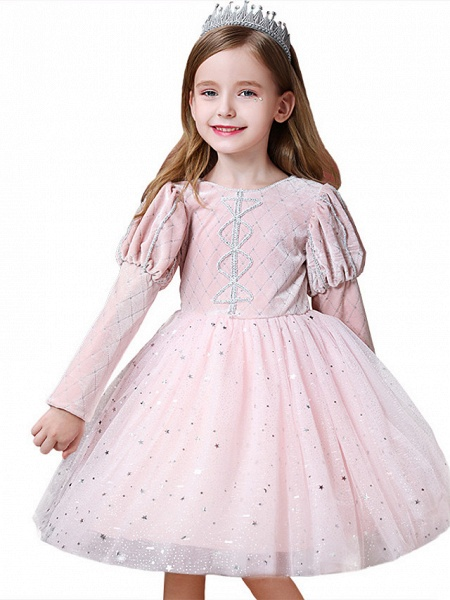 Princess / Ball Gown Knee Length Wedding / Party Flower Girl Dresses - Tulle Long Sleeve Jewel Neck With Paillette_5
