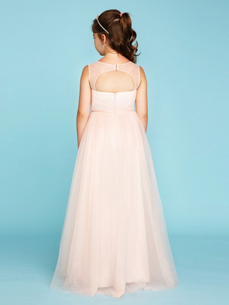 Princess / A-Line V Neck Floor Length Tulle Junior Bridesmaid Dress With Criss Cross / Crystals / Wedding Party_2