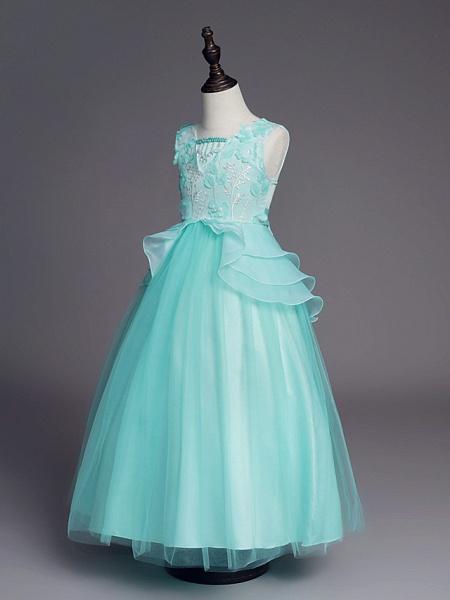 Princess Long Length Wedding / First Communion Flower Girl Dresses - Satin / Tulle Sleeveless Jewel Neck With Belt / Beading / Embroidery_9