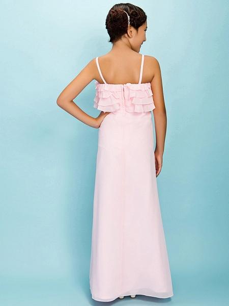A-Line / Sheath / Column Spaghetti Strap Floor Length Chiffon Junior Bridesmaid Dress With Pleats / Ruffles / Spring / Fall / Winter / Apple / Hourglass_4