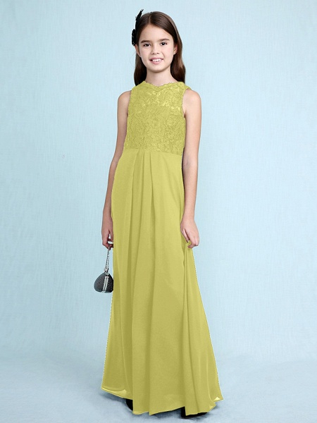 Sheath / Column Scoop Neck Floor Length Chiffon / Lace Junior Bridesmaid Dress With Lace / Natural_21