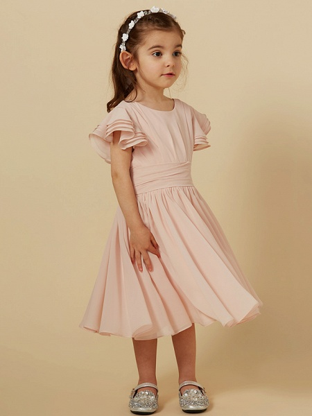 A-Line Tea Length Holiday Flower Girl Dresses - Chiffon Short Sleeve Scoop Neck With Sash / Ribbon_5