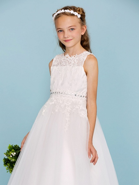 Ball Gown Crew Neck Ankle Length Lace / Tulle Junior Bridesmaid Dress With Sash / Ribbon / Beading / Appliques / Wedding Party_5