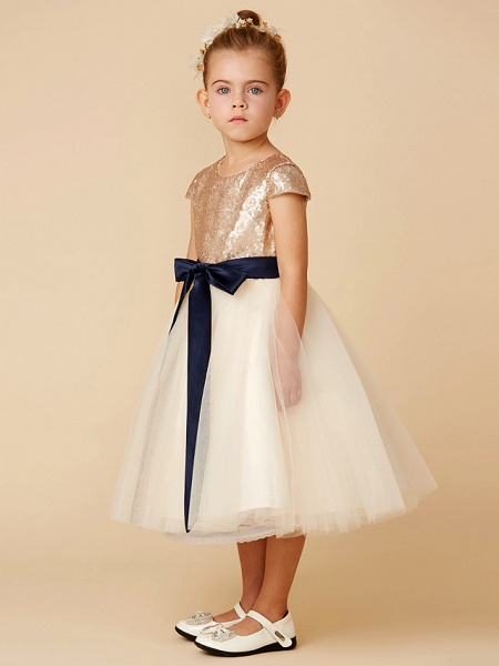 Princess Tea Length Pageant Flower Girl Dresses - Tulle / Sequined Short Sleeve Jewel Neck With Sash / Ribbon / Bow(S) / Sequin_3