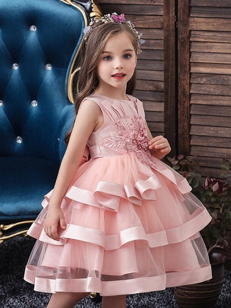 Princess / Ball Gown Knee Length Wedding / Party Flower Girl Dresses - Tulle Sleeveless Jewel Neck With Bow(S) / Appliques / Cascading Ruffles_3
