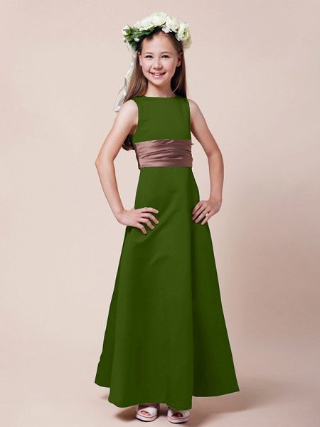 Princess / A-Line Bateau Neck Floor Length Satin Junior Bridesmaid Dress With Sash / Ribbon / Ruched / Spring / Summer / Fall / Winter / Apple_37