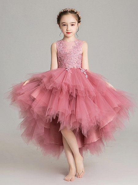 Ball Gown Floor Length First Communion Flower Girl Dresses - Chiffon Sleeveless Jewel Neck With Tier / Crystals / Rhinestones_6