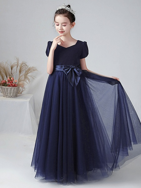 Ball Gown Floor Length Wedding / Party Flower Girl Dresses - Tulle / Velvet Short Sleeve Bateau Neck With Bow(S)_3