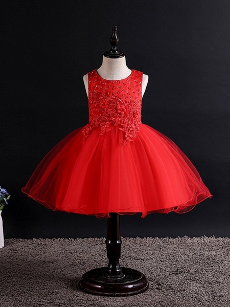 Princess / Ball Gown Knee Length Wedding / Party Flower Girl Dresses - Tulle Sleeveless Jewel Neck With Bow(S) / Beading / Appliques_2