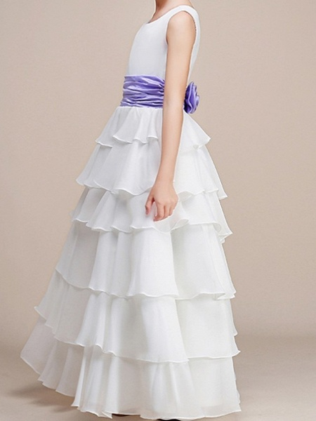 A-Line Floor Length Pageant Flower Girl Dresses - Polyester Sleeveless Jewel Neck With Ruching_2