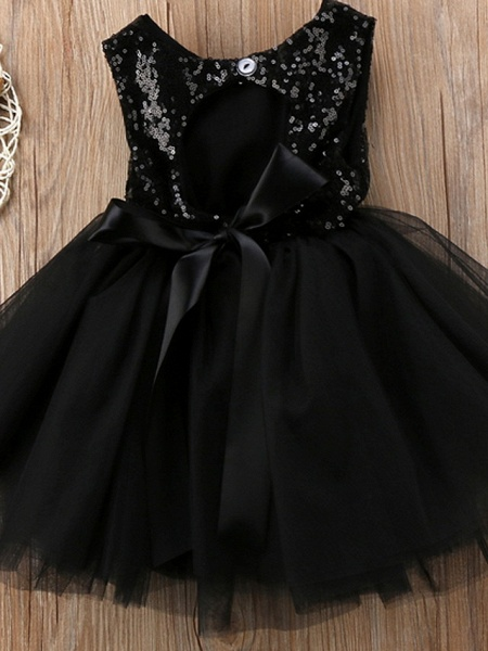 Ball Gown Knee Length Wedding / Party Flower Girl Dresses - Tulle Sleeveless Jewel Neck With Paillette_4