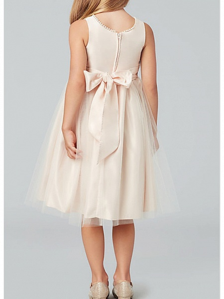 A-Line Knee Length Wedding / Party Flower Girl Dresses - Satin / Taffeta / Tulle Sleeveless Jewel Neck With Bow(S) / Solid_4