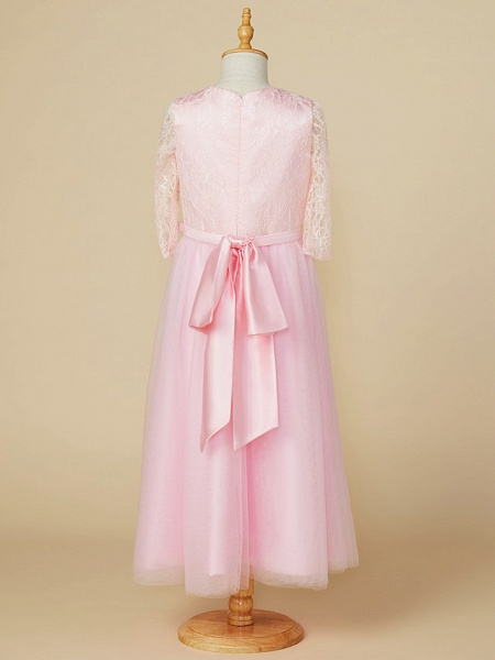 A-Line Jewel Neck Tea Length Lace / Tulle Junior Bridesmaid Dress With Bow(S) / Wedding Party_2