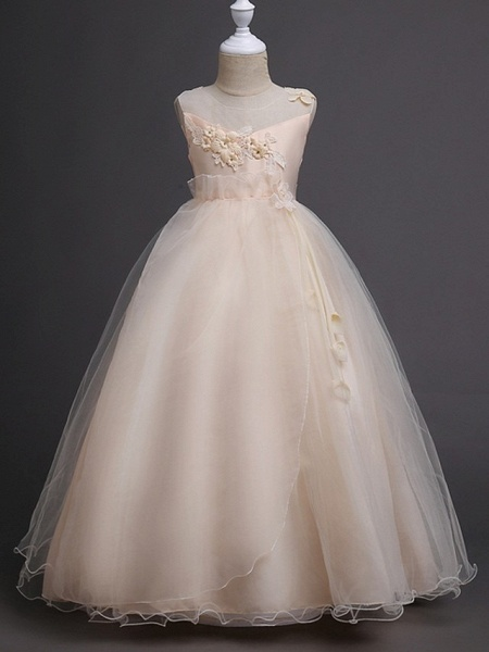 Princess / Ball Gown Floor Length Wedding / Party Flower Girl Dresses - Tulle Sleeveless Illusion Neck With Bow(S) / Appliques_6