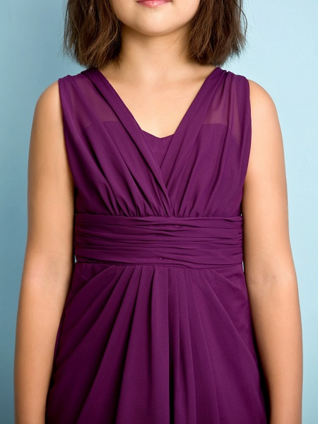 A-Line V Neck Floor Length Chiffon Junior Bridesmaid Dress With Criss Cross / Natural / Mini Me_7