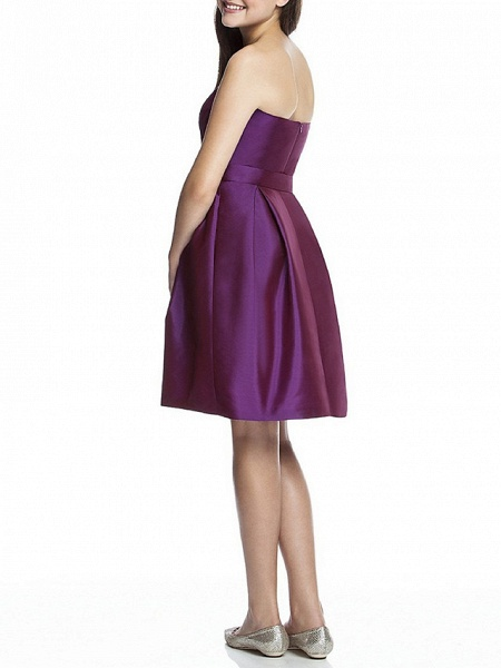 A-Line Bandeau Knee Length Satin Junior Bridesmaid Dress With Ruching_2