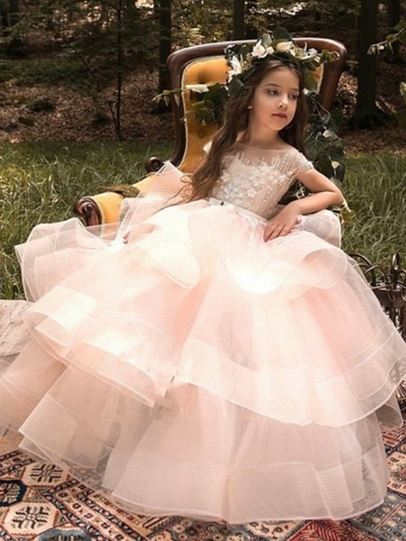 Princess Maxi Pageant Flower Girl Dresses - Polyester Sleeveless Jewel Neck With Bow(S) / Embroidery_1
