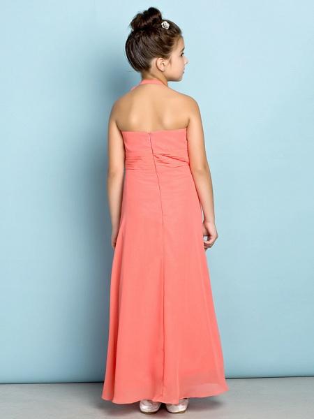 Sheath / Column Halter Neck Ankle Length Chiffon Junior Bridesmaid Dress With Side Draping / Natural / Mini Me_6