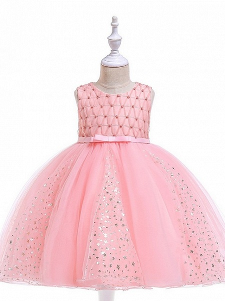 Princess / Ball Gown Knee Length Wedding / Party Flower Girl Dresses - Tulle Sleeveless Jewel Neck With Sash / Ribbon / Beading / Appliques_1